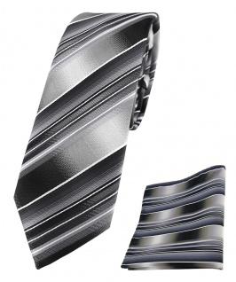 schmale TigerTie Seidenkrawatte + Einstecktuch grau silber anthrazitgestreift