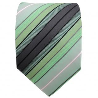 TigerTie Designer Krawatte mint grün anthrazit schwarz silber gestreift - Binder - Vorschau 2