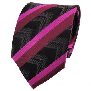 TigerTie Seidenkrawatte magenta bordeaux anthrazit schwarz gestreift - Krawatte