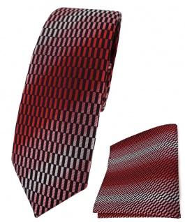 schmale TigerTie Krawatte + Einstecktuch in rot rose schwarz silber gemustert