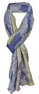 TigerTie Designer Schal in blau grau gelb olive gemustert - Gr. 180 x 50 cm