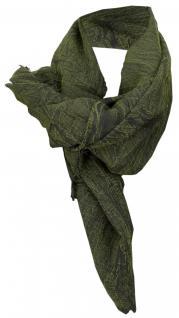 TigerTie Halstuch in dunkelgrün einfarbig mit kleinen Fransen - Gr. 90 x 90 cm