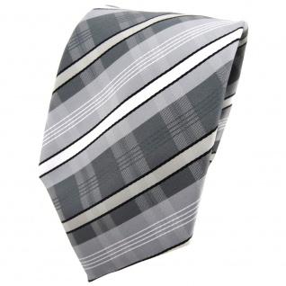 TigerTie Krawatte silber grau anthrazit weiß schwarz gestreift - Binder Tie