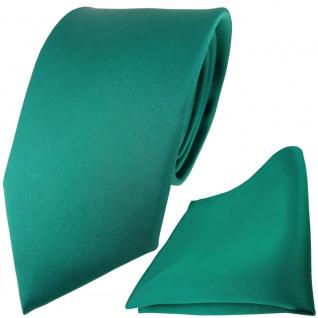 TigerTie Satin Seidenkrawatte + Seideneinstecktuch in grün einfarbig Uni