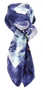 Halstuch marine blau türkis gelb rosa magenta lila weissgrau Paisley gemustert