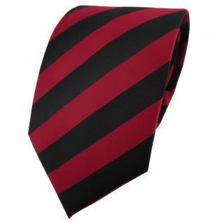 TigerTie Krawatte rot dunkelrot karminrot schwarz gestreift - Binder Schlips Tie