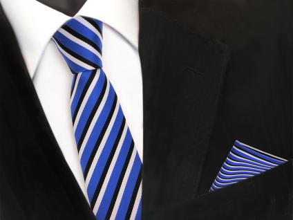 schmale TigerTie Krawatte + Einstecktuch blau ultramarin schwarz weiss gestreift