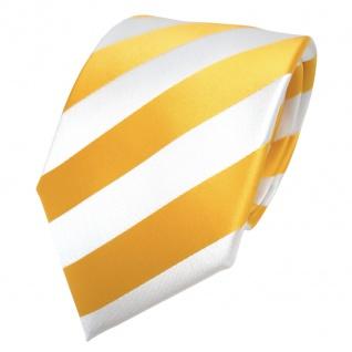 TigerTie Designer Krawatte - Schlips Binder gelb goldgelb weiß gestreift - Tie - Vorschau 2