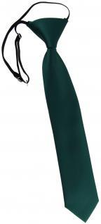 TigerTie Kinderkrawatte in tannengrün Uni - Krawatte vorgebunden mit Gummizug