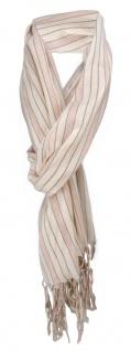 Schal in hautfarbe lachsrot grau gestreift mit Fransen - Gr. 180 x 50 cm