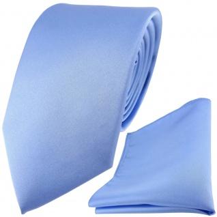 TigerTie Satin Seidenkrawatte + Seideneinstecktuch in blau einfarbig Uni