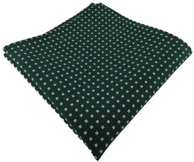TigerTie Designer Seideneinstecktuch in grün dunkelgrün silberweiss gepunktet