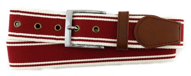 TigerTie - Stoffgürtel in rot dunkelrot creme gestreift - Bundweite 90 cm