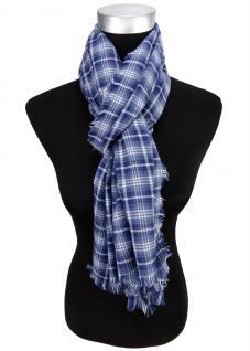 Schal in blau dunkelblau weiß kariert mit kleinen Fransen - Gr. 180 x 50 cm