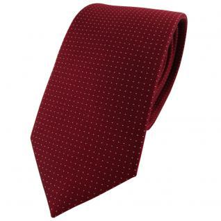 Seidenkrawatte in bordeaux weinrot silber gepunktet, Krawatte 100% reine Seide
