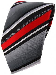 TigerTie Designer Krawatte in rot silber grau weiss gestreift - Tie Binder
