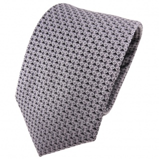 TigerTie Seidenkrawatte anthrazit silber grau gemustert - Krawatte Seide Tie
