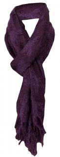 TigerTie Schal in lila dunkellila kariert mit Fransen - Schalgröße 170 x 45 cm