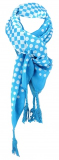 Damen Halstuch türkis blau weiß gepunktet Gr. 100 cm x 100 cm - Tuch Baumwolle