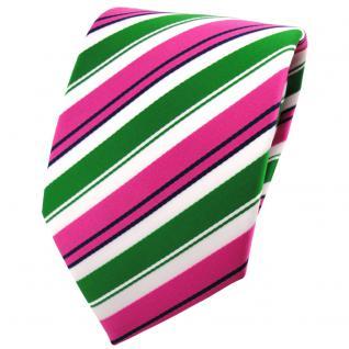schöne TigerTie Krawatte in pink grün weiß schwarz gestreift - Binder Tie
