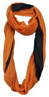 TigerTie Loop Wendeschal orange Uni - schwarz Uni - Gr. 150 x 50 cm - Rundschal