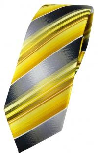 schmale TigerTie Designer Krawatte in gelb gold silber anthrazit grau gestreift - Vorschau 1