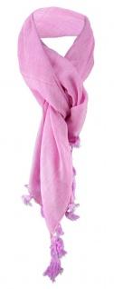 Halstuch rosa einfarbig Fransen und Tusseln an den Ecken -Schal Gr. 100 x 100 cm - Vorschau