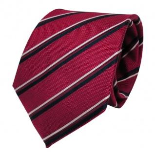Designer Seidenkrawatte rot rubinrot royal silber gestreift - Krawatte Seide Tie