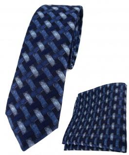 schmale TigerTie Krawatte + Einstecktuch marine dunkelblau - Motiv Flechtmuster