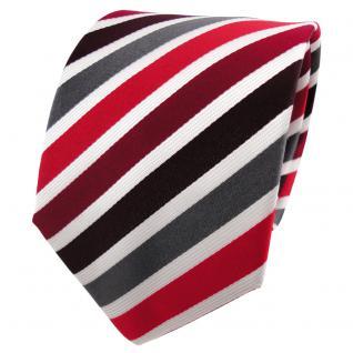 TigerTie Seidenkrawatte rot bordeaux anthrazit weiß gestreift - Krawatte Seide