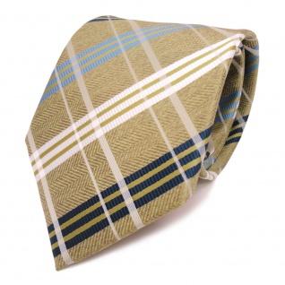Designer Krawatte grün gold weiss blau kariert - Schlips Binder Tie