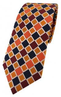 Enrico Sarto Seidenkrawatte in orange gold kupfer schwarz grau karomuster