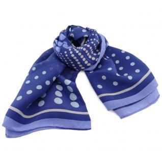 Damen Seidenhalstuch blau dunkelblau silber 90 x 90 - Tuch Nickituch Schal Seide
