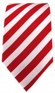 TigerTie Seidenkrawatte rot perlmutt weiss gestreift - Krawatte 100% Seide - Vorschau 2