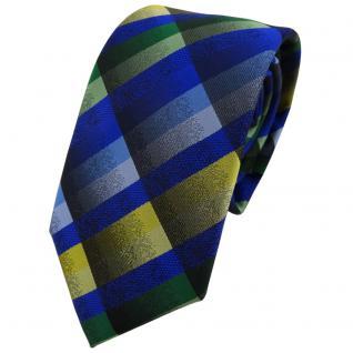 Modische TigerTie Krawatte in blau grün grau gelb kariert - Binder Tie
