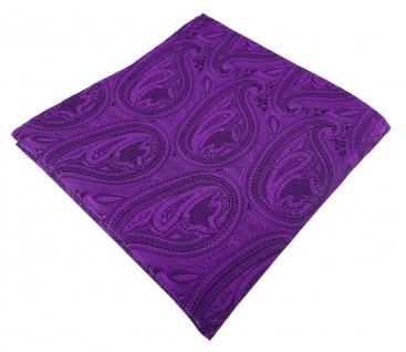 TigerTie Designer Einstecktuch in lila schwarz Paisley gemustert
