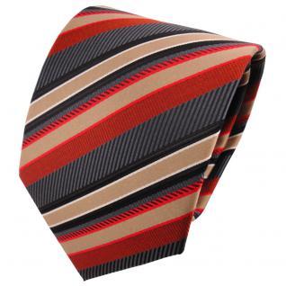 schöne TigerTie Designer Krawatte rot anthrazit gold silber gestreift - Binder