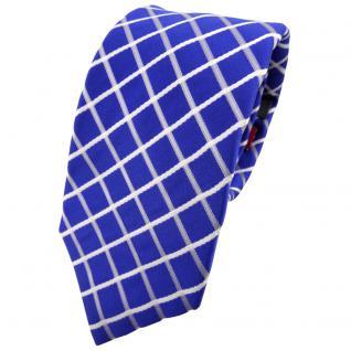 Enrico Sarto Seidenkrawatte blau ultramarinblau weiß kariert - Krawatte Seide