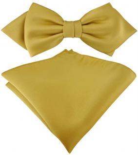 vorgebundene TigerTie Spitzfliege + Einstecktuch in gold Uni einfarbig + Box