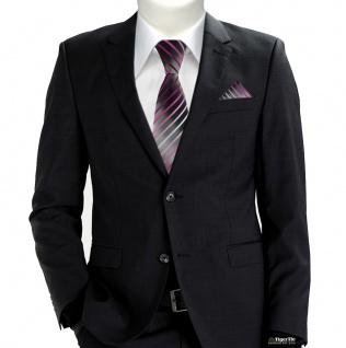 TigerTie Krawatte + Einstecktuch in rosa pink weiss silbergrau schwarz gestreift - Vorschau 2
