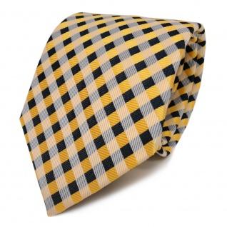 TigerTie Designer Seidenkrawatte gelb goldgelb royal creme kariert