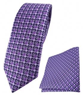 schmale TigerTie Krawatte + Einstecktuch in lila silber schwarz gemustert