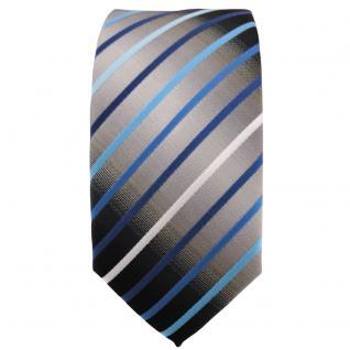 Schmale TigerTie Krawatte türkis blau silber grau weiß schwarz gestreift - Vorschau 2