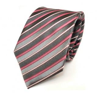 feine Mexx Krawatte grau rot silber-weiss gestreift Seide