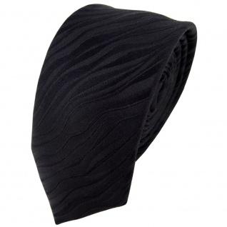 schmale Seidenkrawatte in schwarz Uni Wellenmuster - Krawatte 100% reine Seide