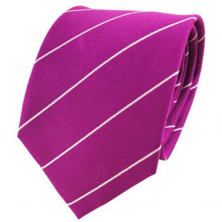 TigerTie Designer Seidenkrawatte magenta silber gestreift - Krawatte 100% Seide