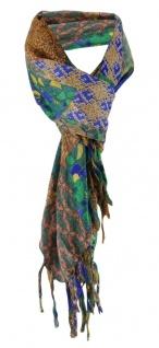 Halstuch mehrfarbig braun blau grün orange grau grün gemustert mit Fransen