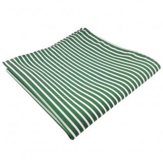 TigerTie Einstecktuch grün smaragdgrün silber weiß gestreift - 100% Polyester