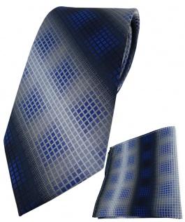 TigerTie Krawatte + Einstecktuch in dunkelblau royal marine silber grau kariert