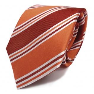 Designer Seidenkrawatte orange rotorange braun weiss gestreift - Krawatte